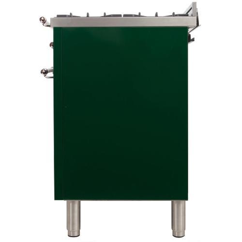 Nostalgie 40 Inch Dual Fuel Liquid Propane Freestanding Range in Emerald Green with Chrome Trim