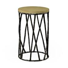 Bronze hammered wine table with celadon top