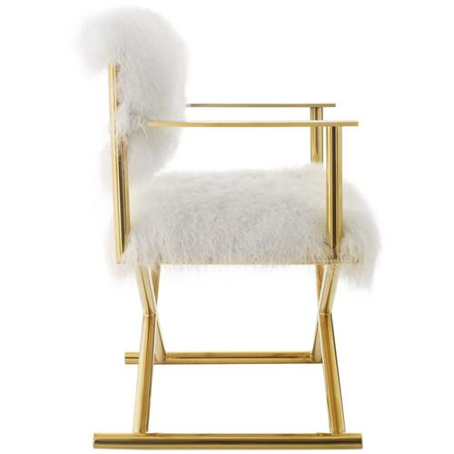 Action Pure White Cashmere Accent Director's Chair in Gold White