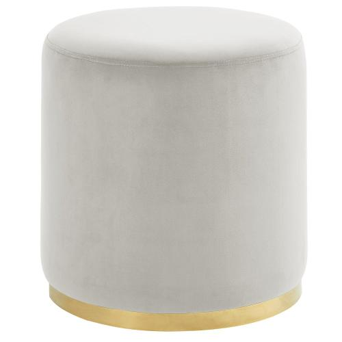 Sonata Round Ottoman in Ivory/Gold