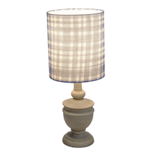 Greywash Accent Lamp with Blue Plaid Shade. 40W Max.