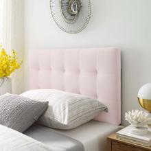 Lily Biscuit Tufted Twin Performance Velvet Headboard in Pink