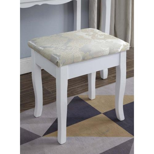 Round Hill Furniture - Sanlo White Wooden Vanity, Make Up Table and Stool Set
