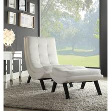 Tustin Lounge Chair and Ottoman Set With White Faux Leather Fabric & Black Legs