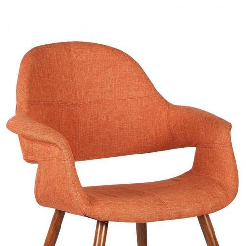 Armen Living Phoebe Mid-Century Dining Chair in Walnut Finish and Orange Fabric