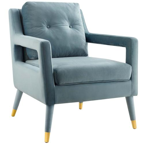 Premise Accent Lounge Performance Velvet Armchair in Light Blue