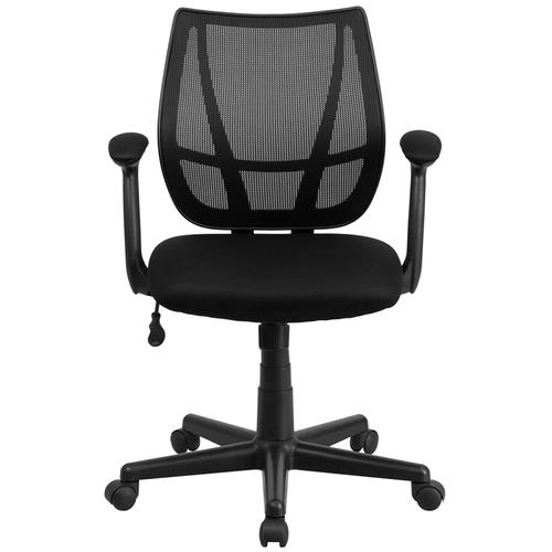 Mid-Back Black Mesh Task Chair with Arms