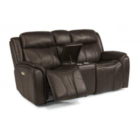 Paisley Power Reclining Loveseat with Console & Power Headrests