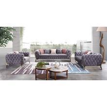Divani Casa Seward Transitional Grey Velvet Sofa Set