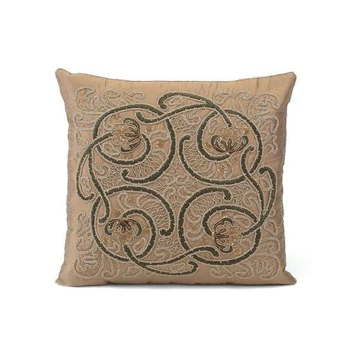 Coffee Silk Embroidered Pillow