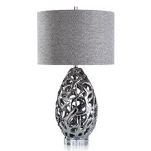 See Details - CALDONIA TABLE LAMP  Silver Finish on Ceramic Body with Crystal Base  Hardback Shade