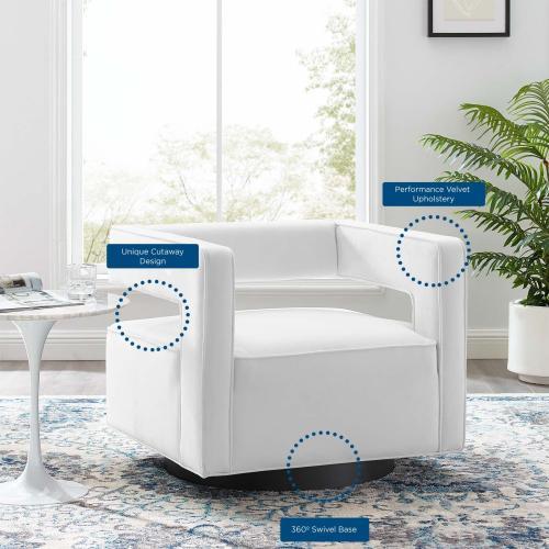 Modway - Booth Performance Velvet Swivel Armchair in White
