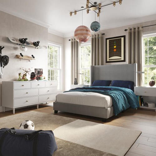 Accentrics Home - One Drawer Bookshelf Nightstand in White