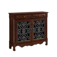 2-drawer and 2-door With Shelves Inside Scroll Console, Light Cherry