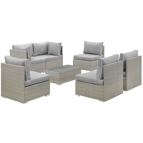 Modway - Repose 7 Piece Outdoor Patio Sectional Set in Light Gray Gray