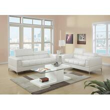 Gerardo 2pc Loveseat & Sofa Set, White Bonded Leather