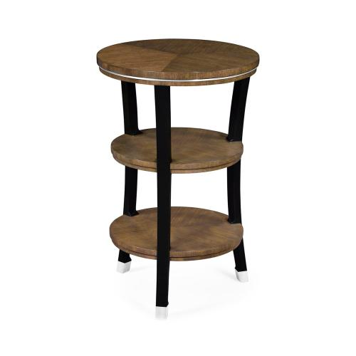 Round side table in American walnut