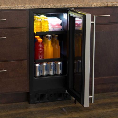 "Marvel 15"" Beverage Center - Black Frame Glass Door - Right Hinge, Stainless Designer Handle"