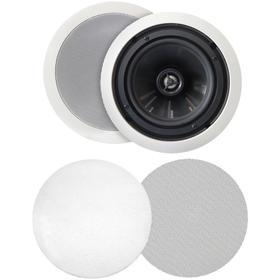 """125-Watt 6.5"""" Weather-Resistant In-Ceiling Speakers with Pivoting Tweeters & Metal & Cloth Grilles"""