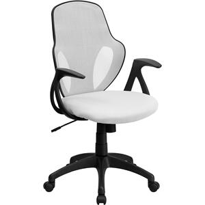 Mid-Back White Mesh Executive Swivel Office Chair with Nylon Base