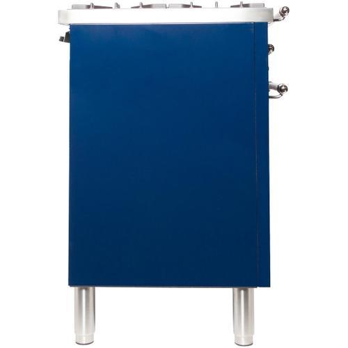 Nostalgie 36 Inch Dual Fuel Liquid Propane Freestanding Range in Blue with Chrome Trim