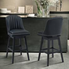 "Armen Living Journey 30"" Bar Height Barstool in Black Wood Finish and Black Faux Leather"
