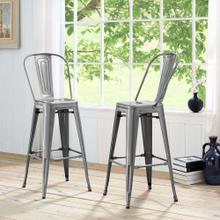 Promenade Metal Bar Side Stool in Gunmetal
