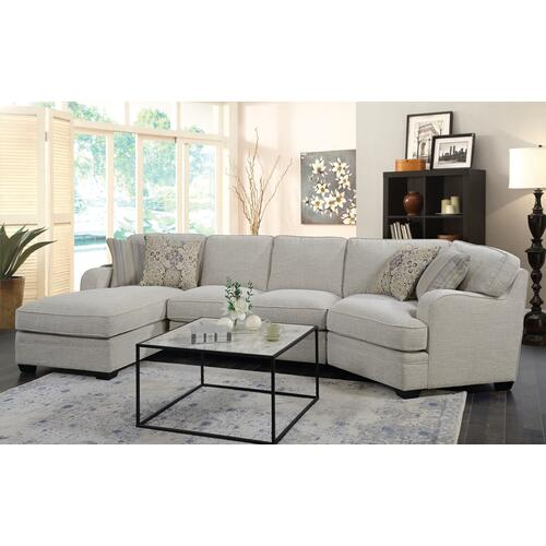 Emerald Home Analiese Sectional Chaise Ivory U4315-11-19