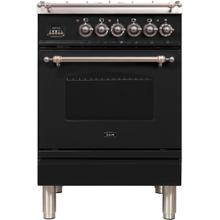 Nostalgie 24 Inch Dual Fuel Natural Gas Freestanding Range in Glossy Black with Bronze Trim