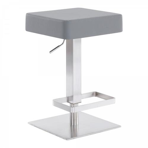 Kaylee Contemporary Swivel Barstool in Brushed Stainless Steel and Grey Faux Leather