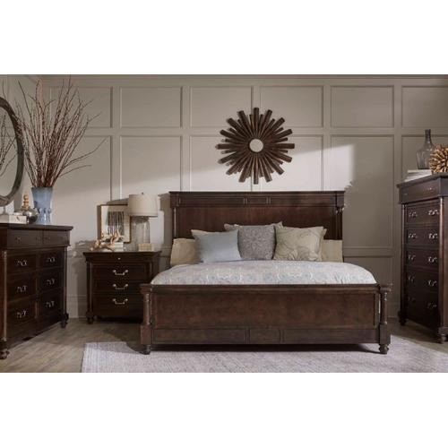 Lawrence Wood & Upholstered Queen Bed Dark Cherry