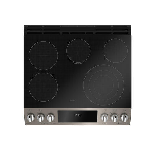 "GE Profile 30"" Electric Slide-In True European Convection with Precise Air Range with Baking Drawer Slate - PCS940EMES"