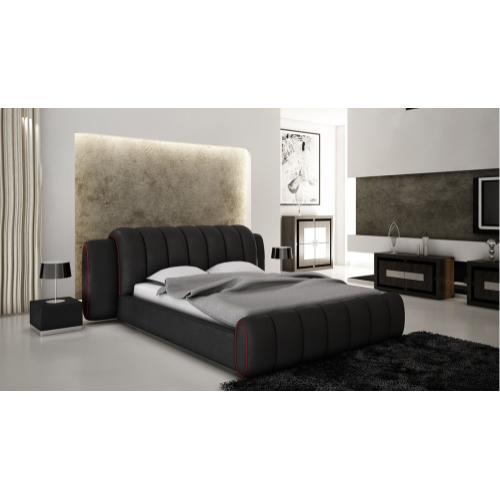 Modrest B1305 Modern Black & Red Bonded Leather Bed