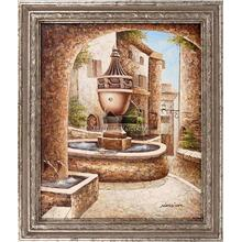 Neighborhood Fountain Framed Hand Painted Art, Oil on Canvas
