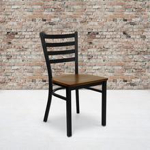 See Details - HERCULES Series Black Ladder Back Metal Restaurant Chair - Cherry Wood Seat