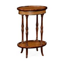 Mahogany and Leather Inlaid Oval Lamp Table