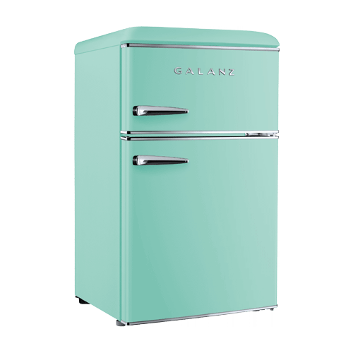 Galanz 3.1 Cu Ft Retro Dual Door Refrigerator in Surf Green