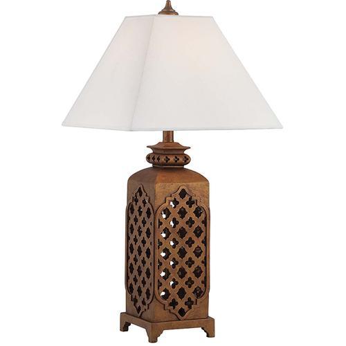 Table Lamp Dark Bronze/fabric Shd, E27 Cfl 23