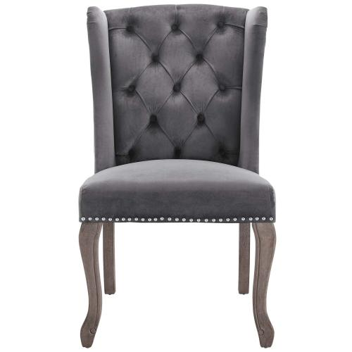 Apprise French Vintage Dining Performance Velvet Side Chair in Gray
