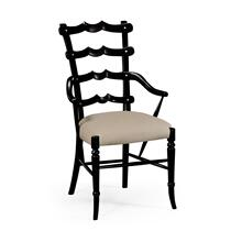 "Black ""Yoke"" ladderback armchair"