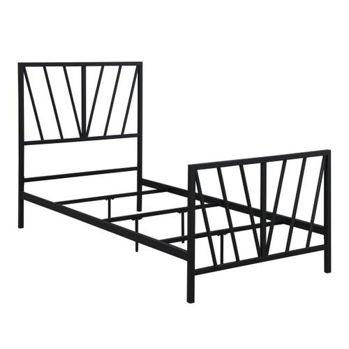 Black Chevron Twin Metal Bed
