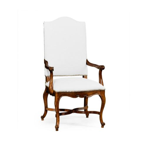 French Baronial Style Country Arm Chair, Upholstered in COM
