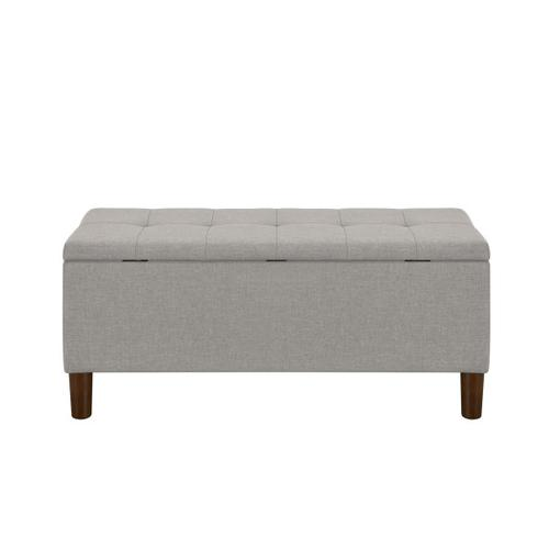 42 Inch Hinged Top Storage Bench w/ Grid-Tufted Seat in Glacier