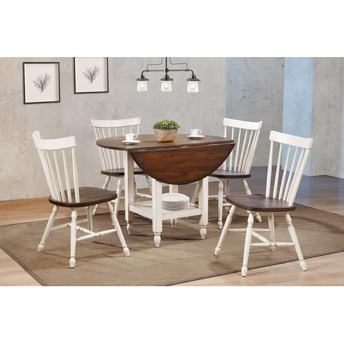 Round Drop Leaf Dining Table w/Shelf - Antique White & Chestnut Brown