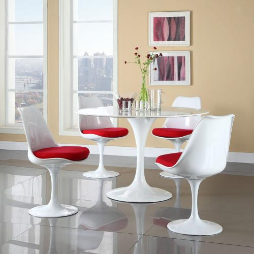 Lippa Dining Fabric Side Chair in Red