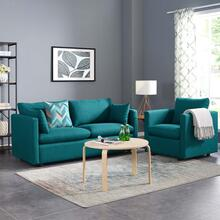 Activate Upholstered Fabric Sofa and Armchair Set in Teal