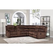 See Details - 8172 DARK BROWN Fabric Reversible Sectional Sofa Manual Recliner