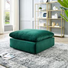 Commix Down Filled Overstuffed Performance Velvet Ottoman in Green