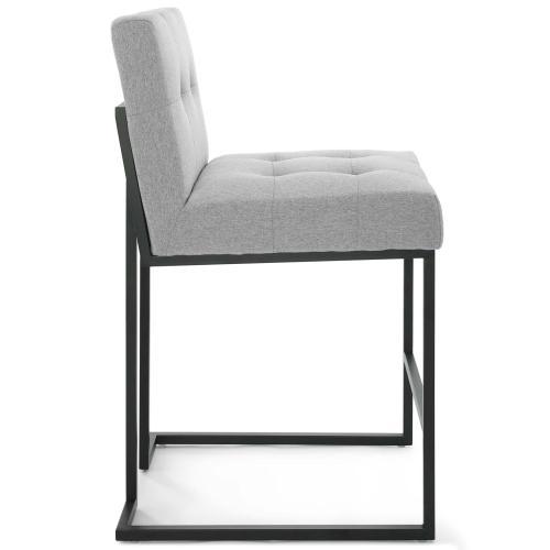 Privy Black Stainless Steel Upholstered Fabric Counter Stool in Black Light Gray