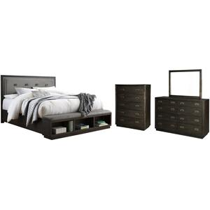 Ashley - California King Upholstered Panel Bed With Storage With Mirrored Dresser and Chest